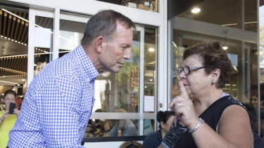 Tony Abbott meets Joy Latos, who despairs at the campaign to try to oust him from the seat.