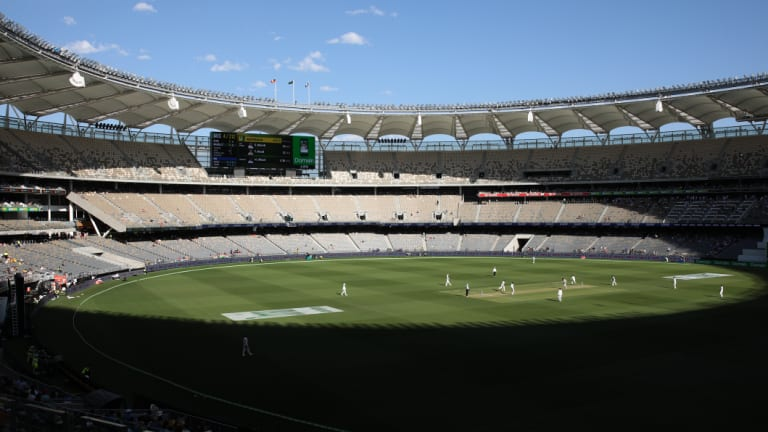 A general view of play during the second Test at Perth Stadium on day one, which drew 20,746 fans.