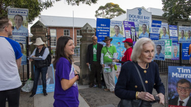 Signage outside a Sydney polling booth in the May election.