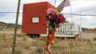 A flower bouquet hangs outside the Bonanza Creek Film Ranch in Santa Fe, New Mexico.