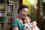 Amber Jackson, with her son, Monte. Amber grew up in the Amazon Acres Women's Commune in Northern NSW and is one of the speakers at the All About Women Festival in Sydney. 14th February 2020 Photo: Janie Barrett