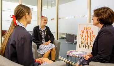 Bianca New offers careers advice to students at Toorak College in Melbourne.
