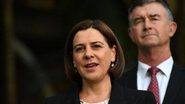 LNP leader Deb Frecklington has backed her deputy, Tim Mander (right).