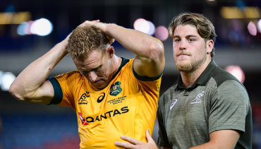 Reece Hodge cut a forlorn figure after the Wallabies' 15-all draw in Newcastle.