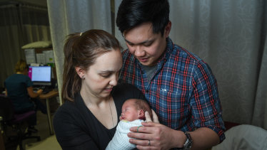 Josh and Libby with their son James, who was born the size of a 22-week-old baby.