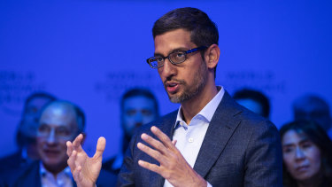 "Sundar Pichai, chief executive of Google's parent company Alphabet, said the company was ""challenging ourselves to make helpful products with less data."""