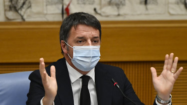 Italian Senator, former premier and head of the political party 'Italia Viva' (IV), Matteo Renzi holds a press conference after pulling his party out of the ruling coalition.