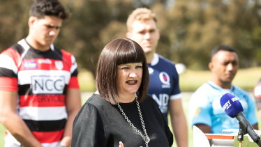 Rugby Australia boss Raelene Castle speaks to the media at Tuesday's launch of the NRC.