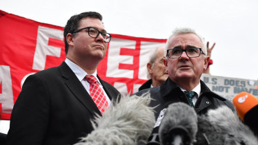 Liberal National Party MP George Christensen and independent MP Andrew Wilkie speak outside Belmarsh Prison after visiting Julian Assange.