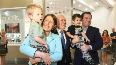 Former prime minister John Howard hit the campaign trail in Penrith with NSW Premier Gladys Berejiklian and Sports Minister Stuart Ayres, who is defending the seat on a margin of 6.2 per cent.