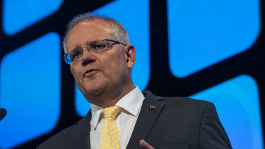 Prime Minister Scott Morrison at the AFR Business Summit.