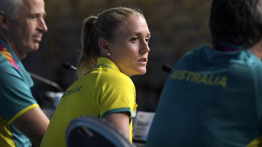 Highs and lows: Pearson announcing her withdrawal from the Commonwealth Games on the Gold Coast last year.