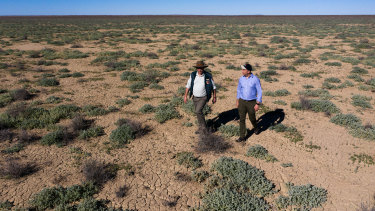 NSW Environment Minister, Matt Kean (right), and Jaymie Norris from the NSW National Parks and Wildlife Service, on Narriearra in far north-west NSW.