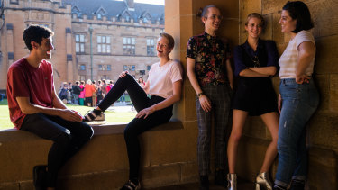 Grace Franki, in white shirt, with friends at the University of Sydney.