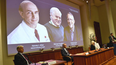 Harvey J. Alter, far left, Michael Houghton and Charles M. Rice were awarded the Nobel Prize in medicine and physiology.