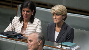 Ms Banks, pictured with former deputy Liberal leader Julia Bishop in Parliament, before she crossed to sit as an independent.