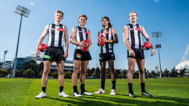 Four of Collingwood's five 2021 debutants. L-R Jay Rantall, Finlay Macrae, Caleb Poulter and Beau McCreery.