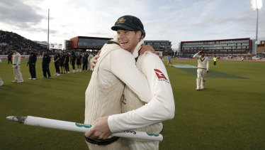 Steve Smith celebrates after the victory.