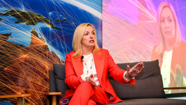 Christine Holgate speaking at Australia Post's Cross Border Ecommerce Expo in Melbourne on Thursday.