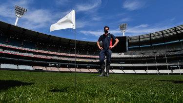 The stadium's executive director of turf, Michael Salvatore, at the MCG.