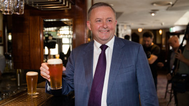 Anthony Albanese having a beer at the Unity Hall Hotel after announcing that he will stand for Labor leadership.
