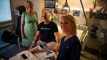 Newcastle Knights legend Tony Butterfield was saved when Colinda Holmes, left, and Rachael Paton, right, were able to keep him alive after he suffered a heart attack at No. 2 Sportsground on Saturday.