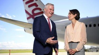 Virgin Australia CEO Jayne Hrdlicka and Deputy Prime Minister Michael McCormack at the Brisbane Airport.
