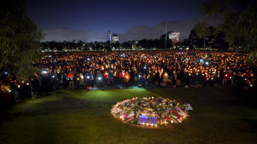 Thousands of people attended a candlelight vigil in solidarity for the Melbourne comedian Eurydice Dixon who was found dead at Princes Park in North Carlton.