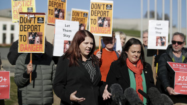 Supporters of the Biloela Tamily family deliver a petition to Parliament last year.