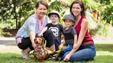 Dachshund Frankie with his family after the RSPCA put out the call to find the original owners of Storybook Farm animals.