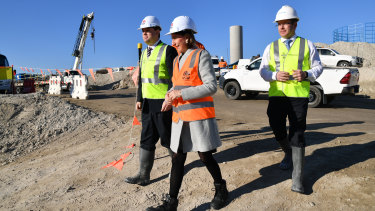 Gladys Berejiklian at the site on Tuesday.