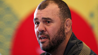 Michael Cheika defends Reece Hodge in Tokyo on Friday.