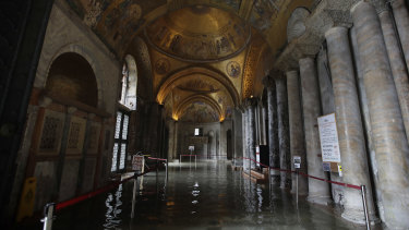 The flooded atrium of St Mark's Basilica.