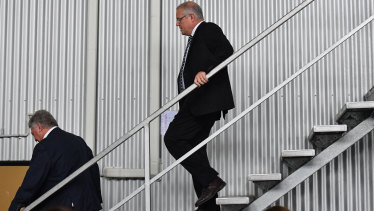 Prime Minister Scott Morrison visits the AusProof manufacturing facility in Gladstone on Friday.