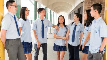 Canley Vale High School's high achievers: Kenny Tang, Gemma Truong, Quang Hoang Dang Phan, Anna Ha, Ying Jin, Emily Khou and Bryan Eng.