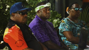 Reverend Stanley Marama (centre) during the Mabo Day event on Boigu Island in the Torres Strait on June 3.