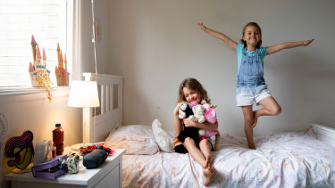 Sisters, Olivia, 6, and Harriet, 5, Roscoe in their Sydney home.