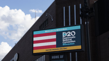 Signage for the Democratic National Convention is displayed near the Wisconsin Center in Milwaukee.