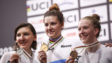 Silver medalist Lisa Brennauer of Germany, gold medalist Dygert and bronze medalist Franziska Brausse of Germany.