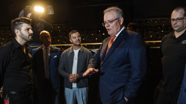 Prime Minister Scott Morrison and singer Guy Sebastian at West HQ in Sydney to announce the arts rescue package on Thursday.