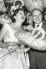 Ray Lawler, author of The Doll, with the female lead Fenella Maguire. March 27, 1956.