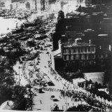 A Nationalist army parades along the Shanghai Bund, April 30, 1949.