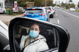Ashleigh Phillips spent hours waiting for a COVID test on Tuesday morning at Maidstone, near Highpoint Shopping Centre, where the queue stretched for more than a kilometre.