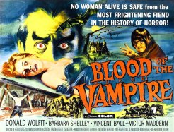 Poster for Blood Of The Vampire with woman on table Barbara Shelley, 1958.