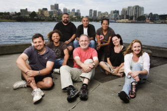 McGovern meets with Indigenous writers working on the ABC series <i>Redfern Now</i> in 2010, from back, left to right,  Adrian Wills, Steven McGregor, Tamara Whyte; middle row, Dennis Simmons, Danielle MacLean. front row, Jon Bell, Jimmy McGovern and Michelle Blanchard.