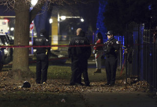 Chicago police at the scene of a shooting on Sunday.
