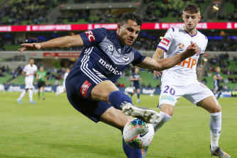 Andrew Nabbout, left, in action during round eight against Perth.