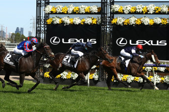Twilight Payment, ridden by Jye McNeil, wins the Melbourne Cup.