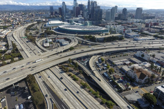 Normally congested freeways in Los Angeles were largely free of traffic on March 20.