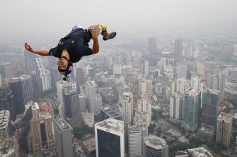 Reffet leaps from the deck of Malaysia's Kuala Lumpur Tower in 2013.